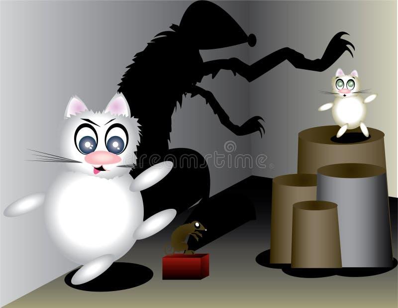 Kat en mose royalty-vrije illustratie