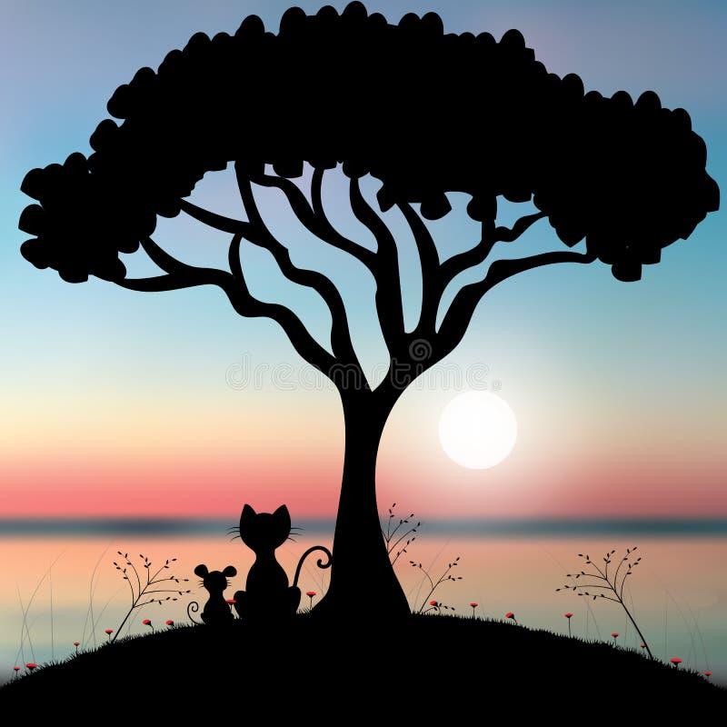 Kat en muiszitting onder de boom, Vectorillustraties stock illustratie