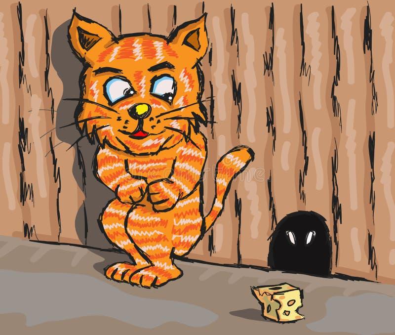 Kat en rat stock illustratie