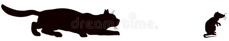 Kat en rat vector illustratie