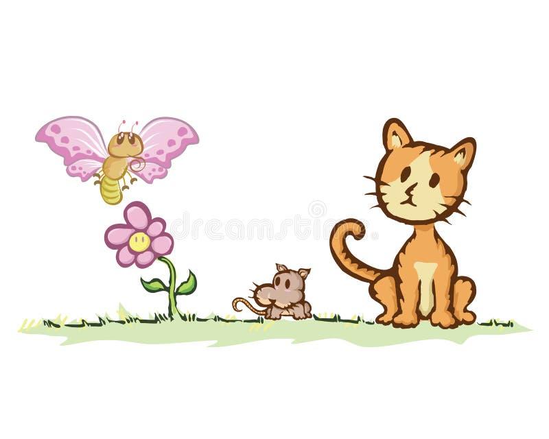 Kat en rat met vlinder stock illustratie