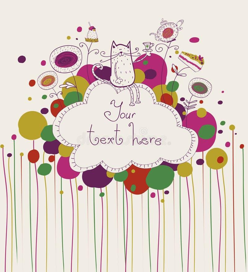 Kat en thee stock illustratie