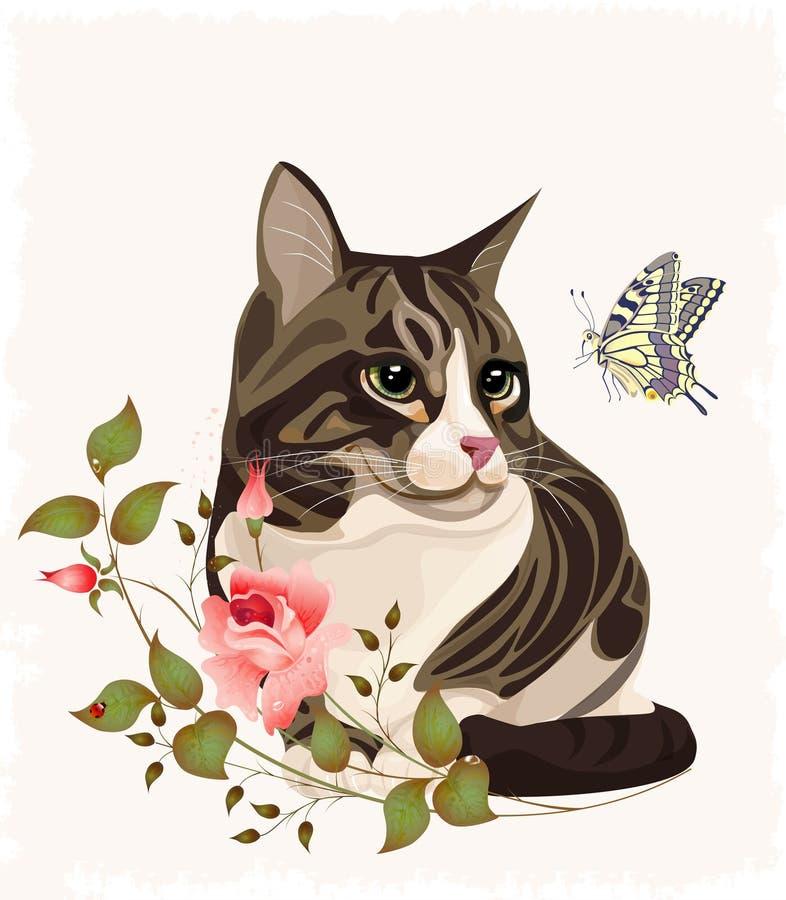 Kat en vlinder vector illustratie