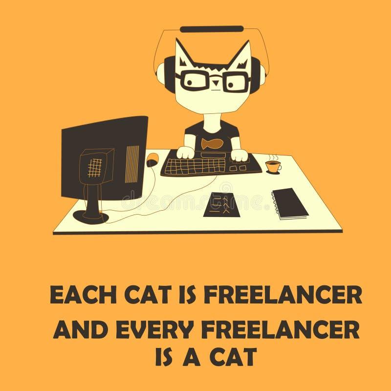 Kat freelancer vector illustratie