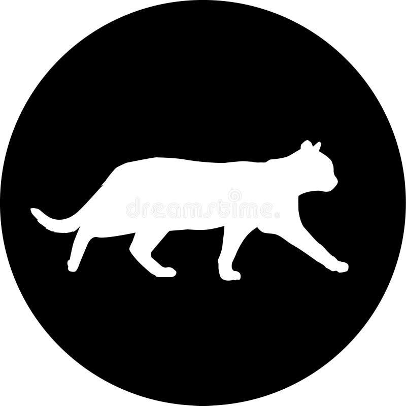 Kat in het donkere embleem royalty-vrije stock afbeeldingen