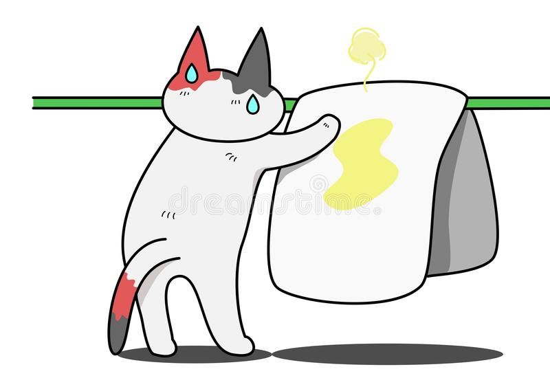 Kat het drogen bed-nat maakt stock illustratie