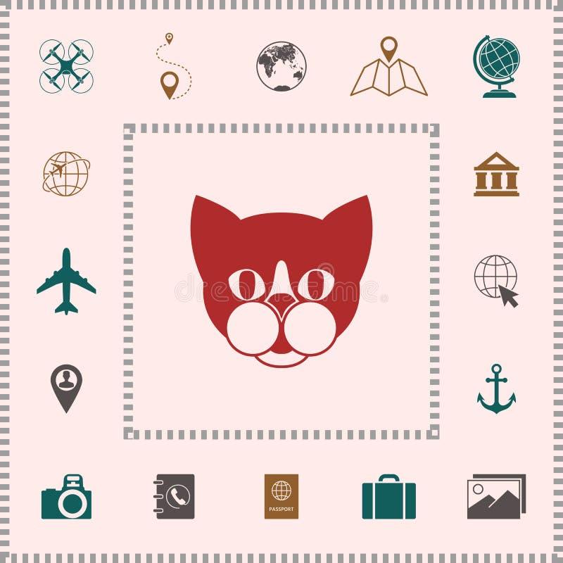 Kat - het embleem, beschermt tekenpictogram stock illustratie