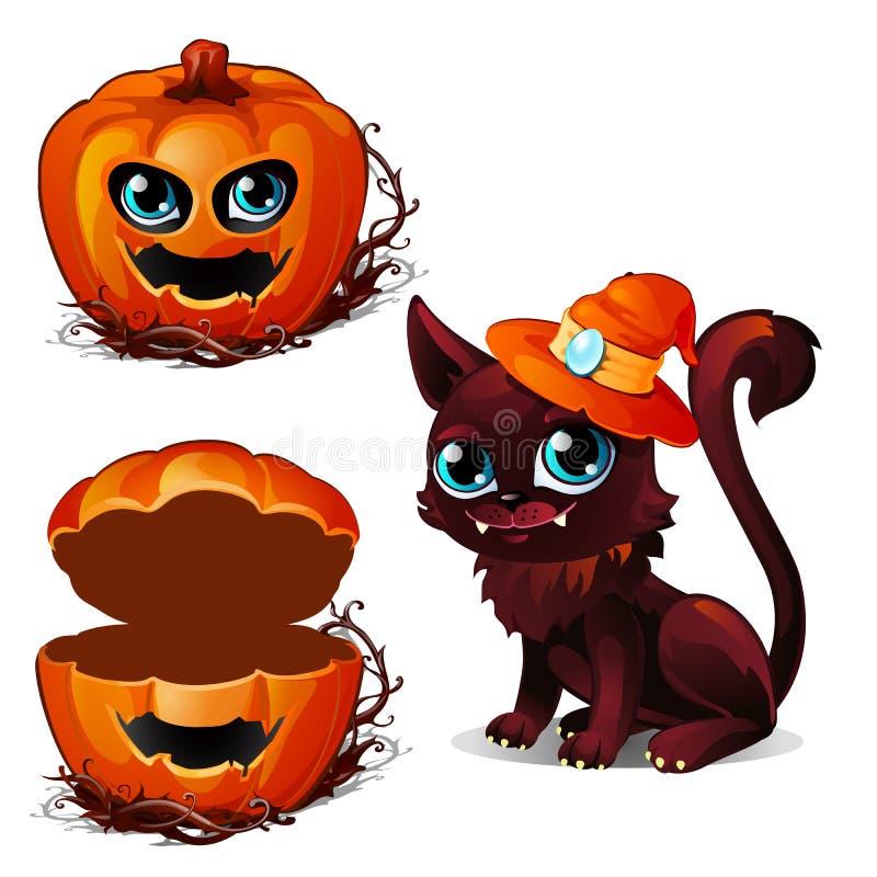 Kat in hoed en doos pompoenen Halloween-karakters Donkere kat met hoektanden in oranje hoed en eng pompoengezicht Vector royalty-vrije illustratie