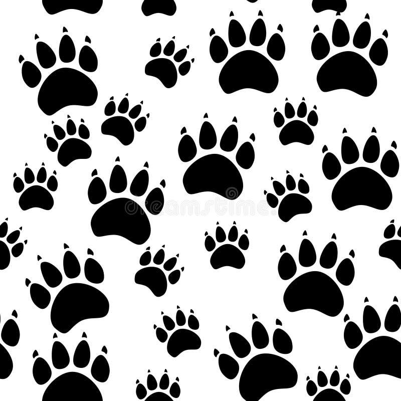 Kat of hondpoot naadloos patroon - vector dierlijke voetafdruktextuur Vector illustratie royalty-vrije illustratie