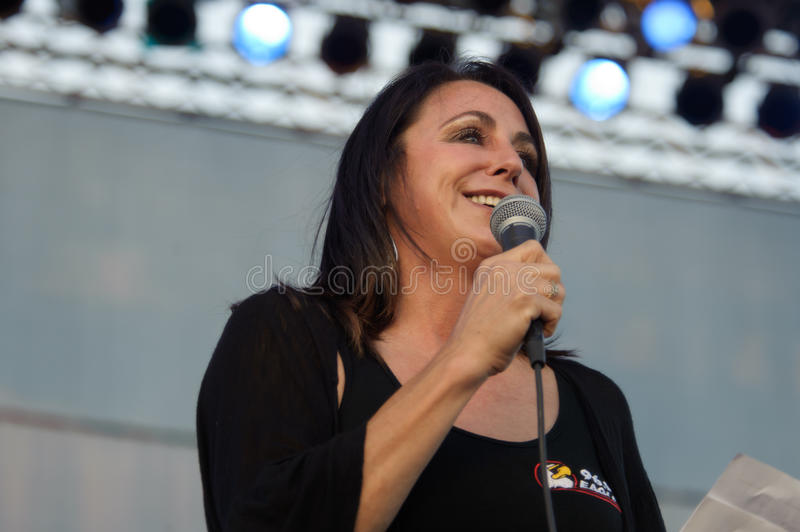 Kat Maudru. LINCOLN, CA - June 2: Kat Maudru with radio 96.9 Sacramento introducing Creedence Clearwater Revisited at Thunder Valley Casino Resort in Lincoln stock image