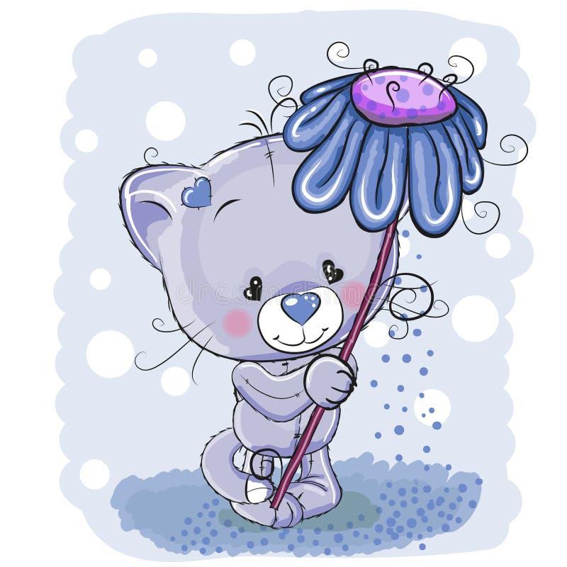 Kat met bloem stock illustratie