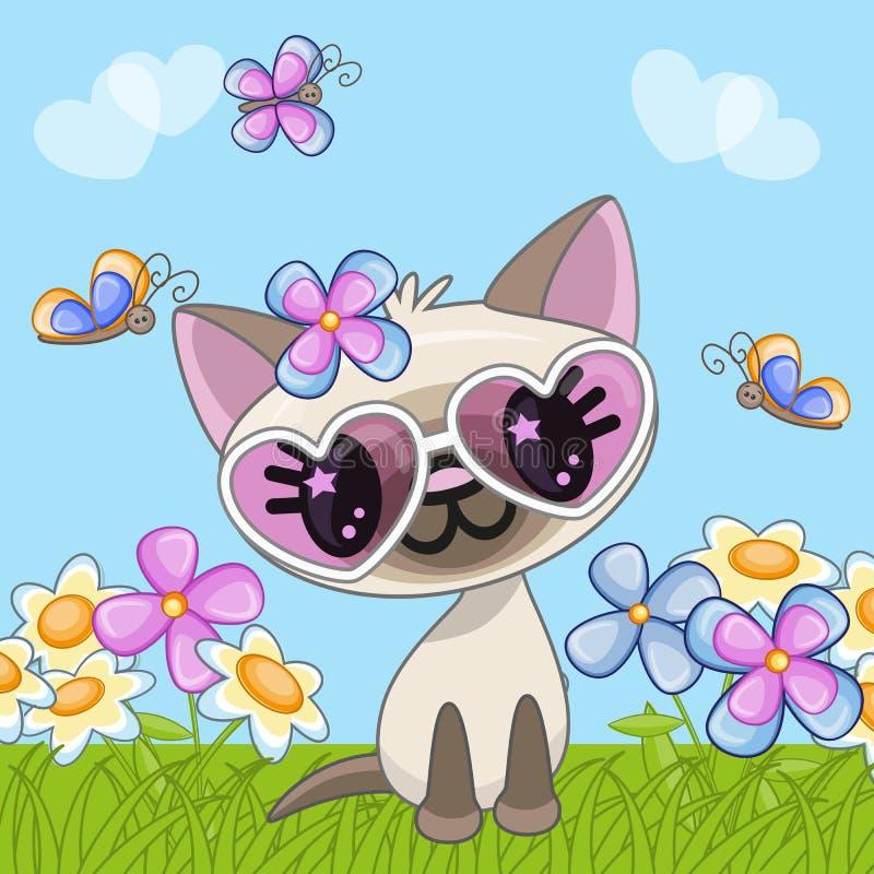 Kat met bloemen vector illustratie
