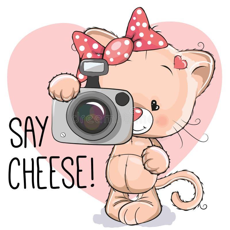 Kat met een camera vector illustratie