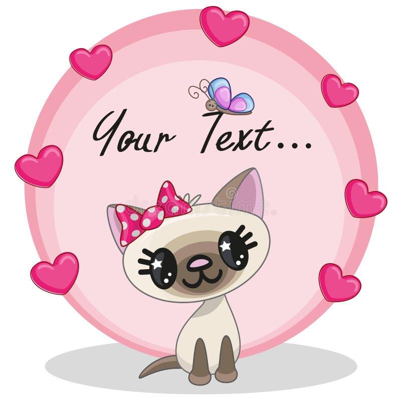 Kat met harten stock illustratie