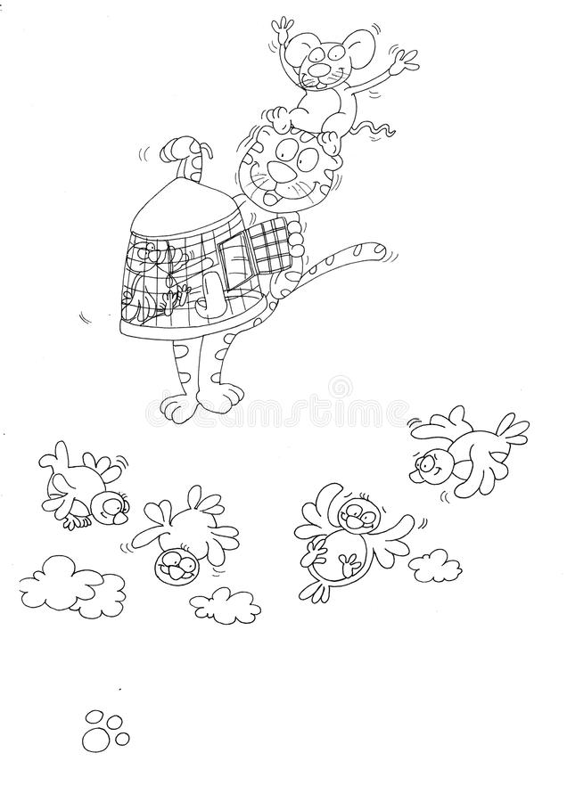 Kat met muis op het hoofd, en de kooi in zijn hand vogels die vliegen stock illustratie