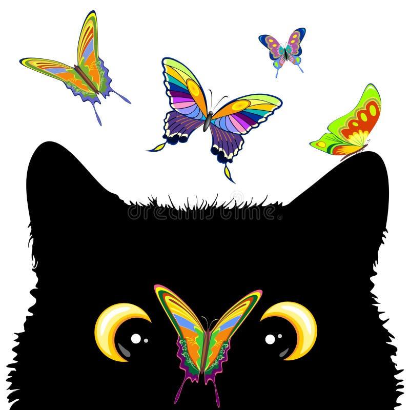 Kat met vlinder op neushoorn en Naughty Vector Character (Naughty Vector Character) vector illustratie