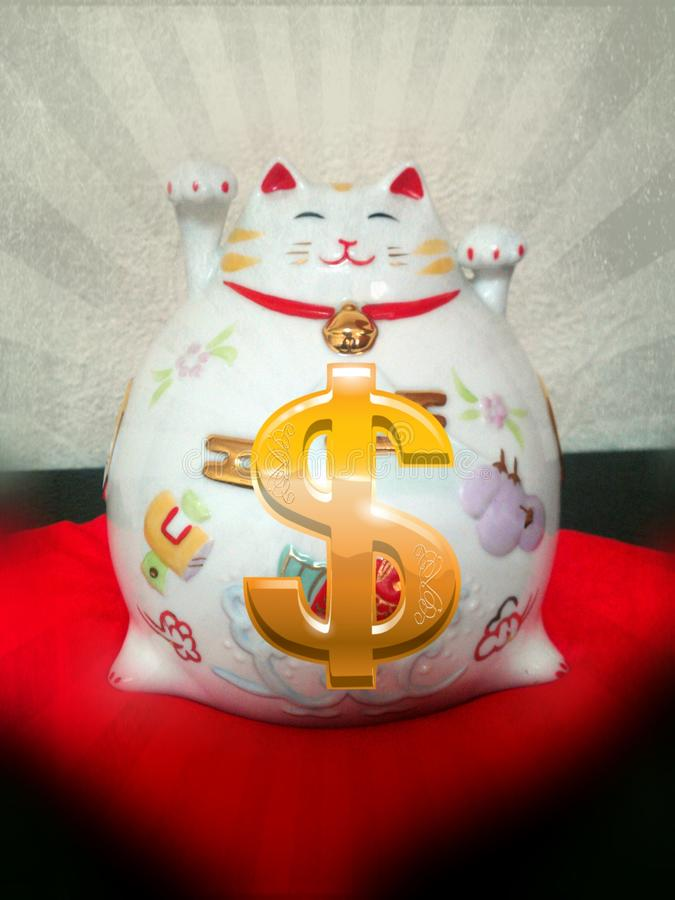 Kat moneybox royalty-vrije stock foto