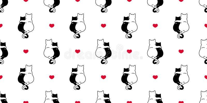 Kat naadloos patroon valentine hart kitten vectorscarf geïsoleerd recidief achtergrond tegelachtergrond tekenfilm illustratie doe royalty-vrije illustratie