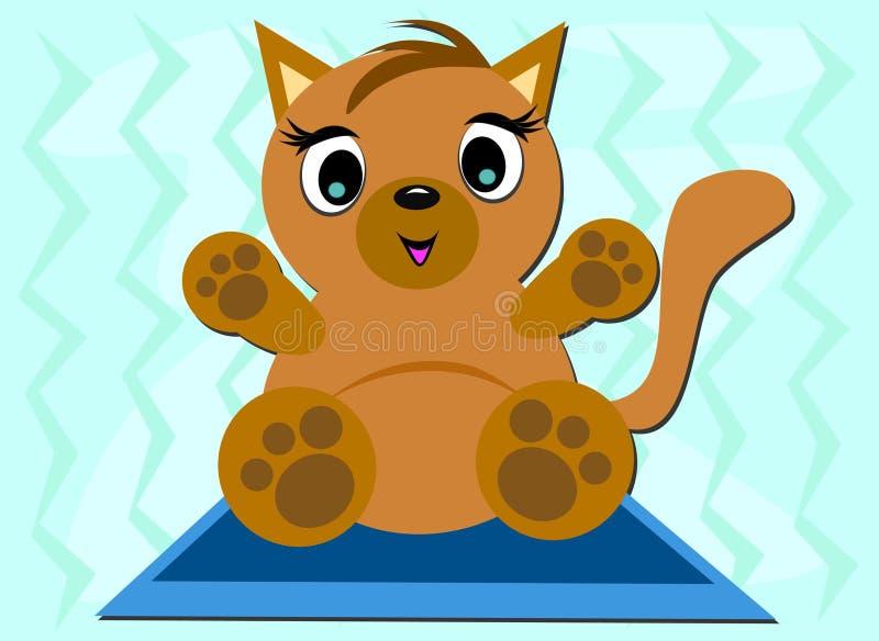 Kat op een Blauwe Mat royalty-vrije illustratie