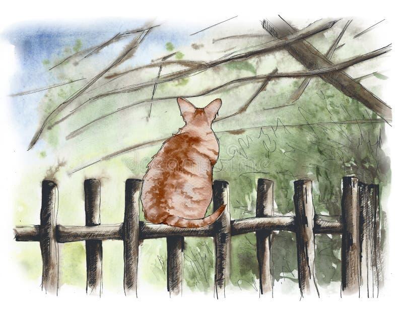 Kat op een rustieke houten omheining Concept energie royalty-vrije illustratie