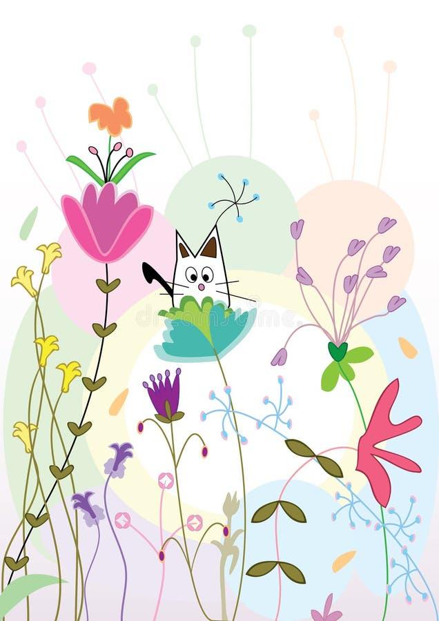 Kat op floraatmosfeer royalty-vrije illustratie