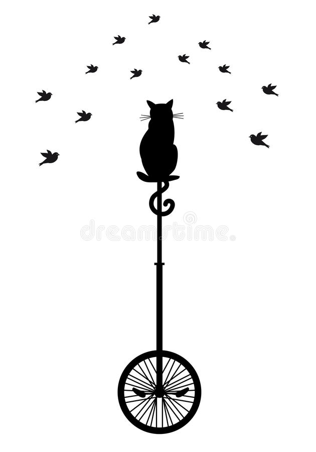 Kat op monocycle met vogels, vector stock illustratie