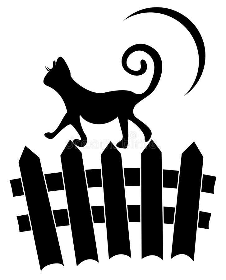 Download Kat op omheining vector illustratie. Illustratie bestaande uit maan - 25785798