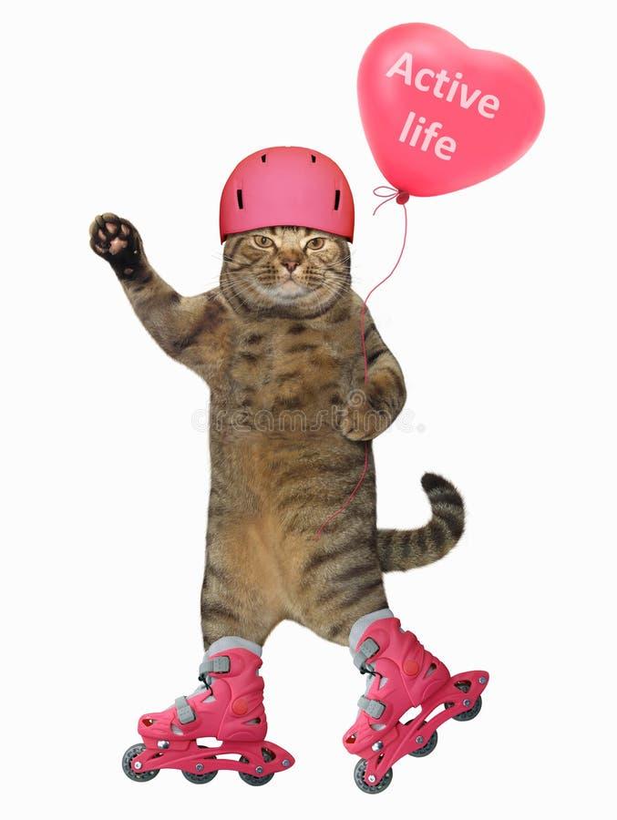 Kat op rollerblades met ballon stock afbeelding