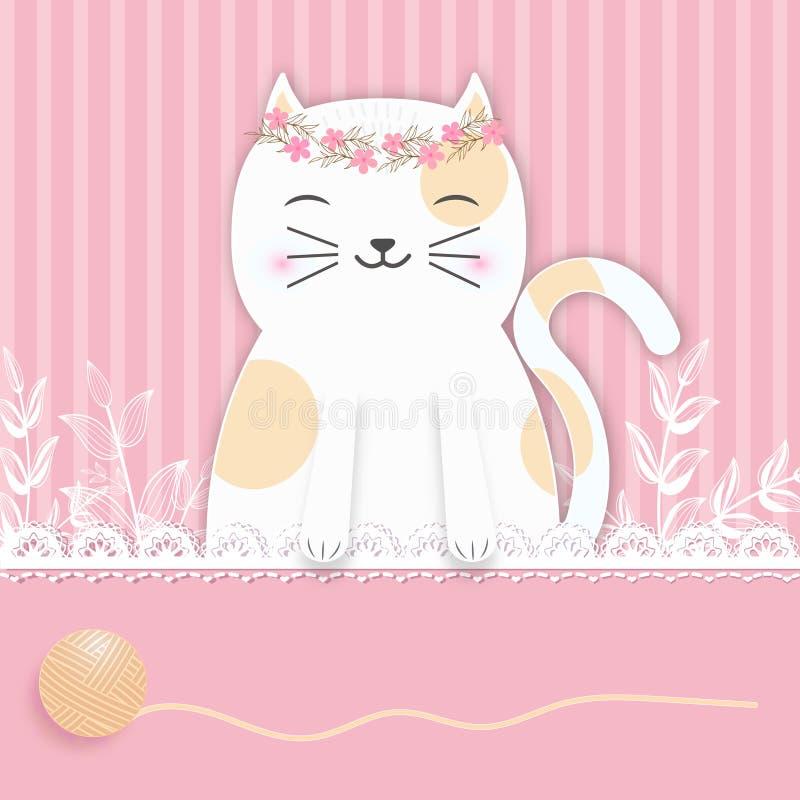 Kat op roze achtergrond voor Groetkaart, de kaart van de Babydouche stock illustratie