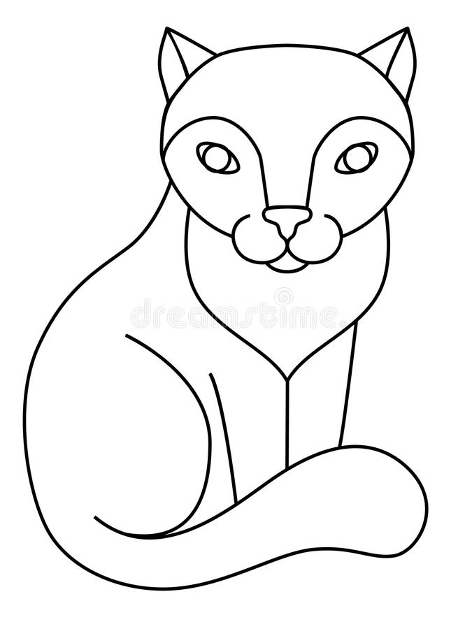 Kat Zittingskat, lijntekening voor het kleuren stock illustratie