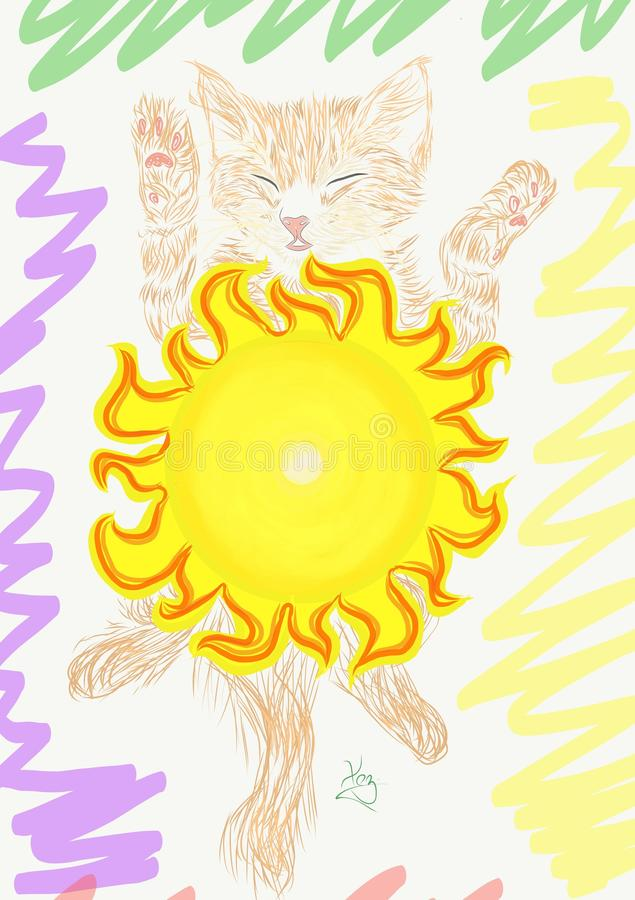 kat of zon stock illustratie