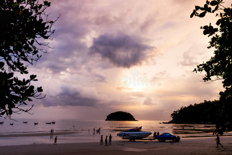 Kata beach,Phuket-November 18, 2016 :Speed boat laying on trailer ready to move from andaman sea at sunset. royalty free stock image