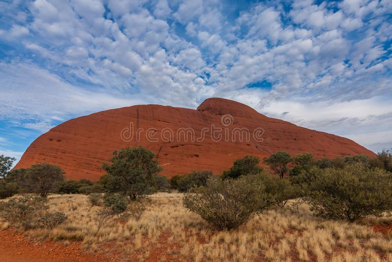 A scenic view of Kata Tjuta - The Olgas on a sunny day, Australia royalty free stock photo