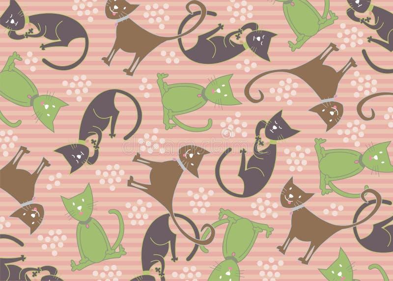 Katachtig de kattenpatroon van de pastelkleur royalty-vrije illustratie