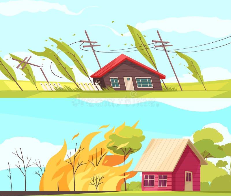 Kataklizmów Horyzontalni sztandary Ustawiający ilustracji