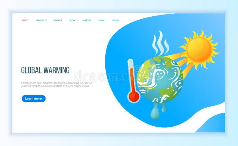 Kataklizmu wysoki stopień, Gorąca pogoda, Rozgrzewkowy wektor ilustracji