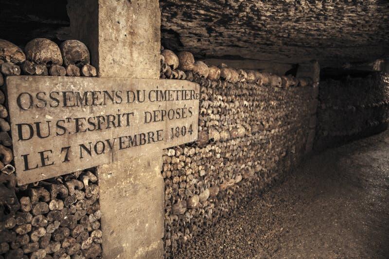 katakomber av paris royaltyfria foton