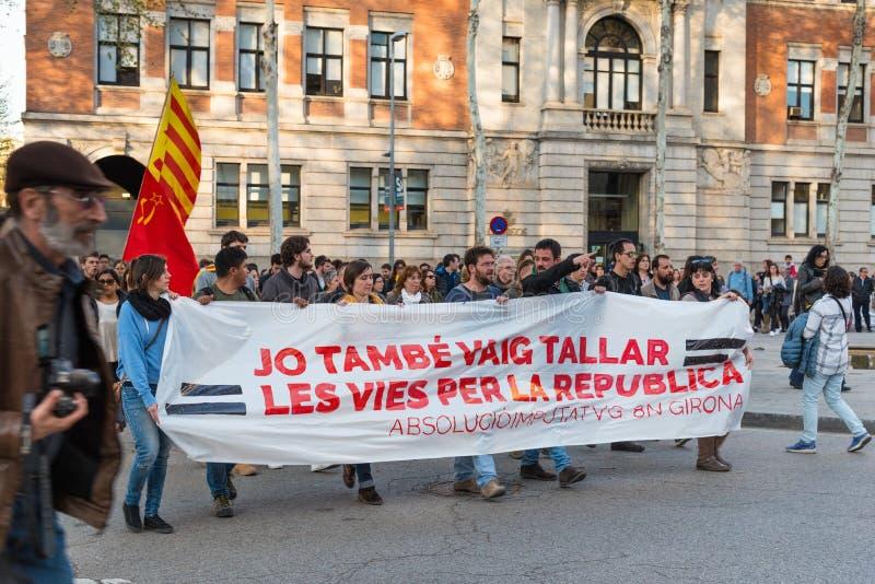 Katalanischer politischer Protest in Girona, Spanien stockfotos