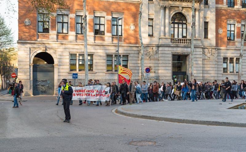 Katalończyków protesty w Girona, Hiszpania obrazy stock