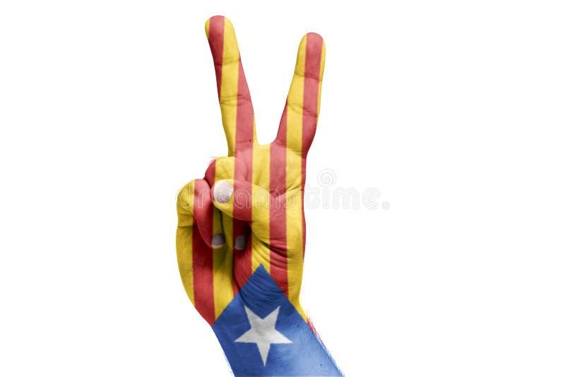 Katalończyk flaga malująca na ręki odświętności zwycięstwie referendum zdjęcia royalty free