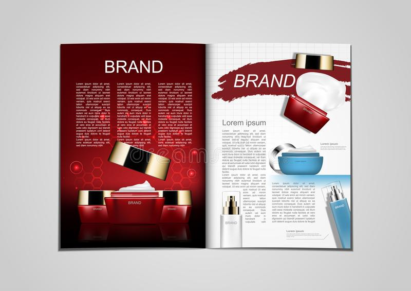 Katalog av röda och blåa kosmetiska produkter för tidskrift eller brochu stock illustrationer