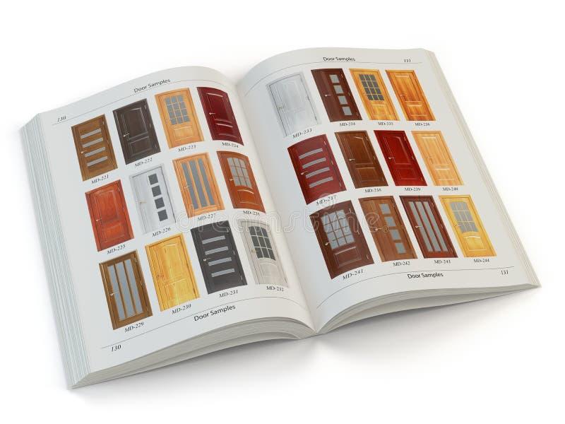 Katalog drewniani drzwi odizolowywający na bielu Wewnętrzny projekt i c ilustracja wektor