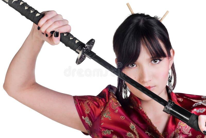 katana девушки стоковое фото rf