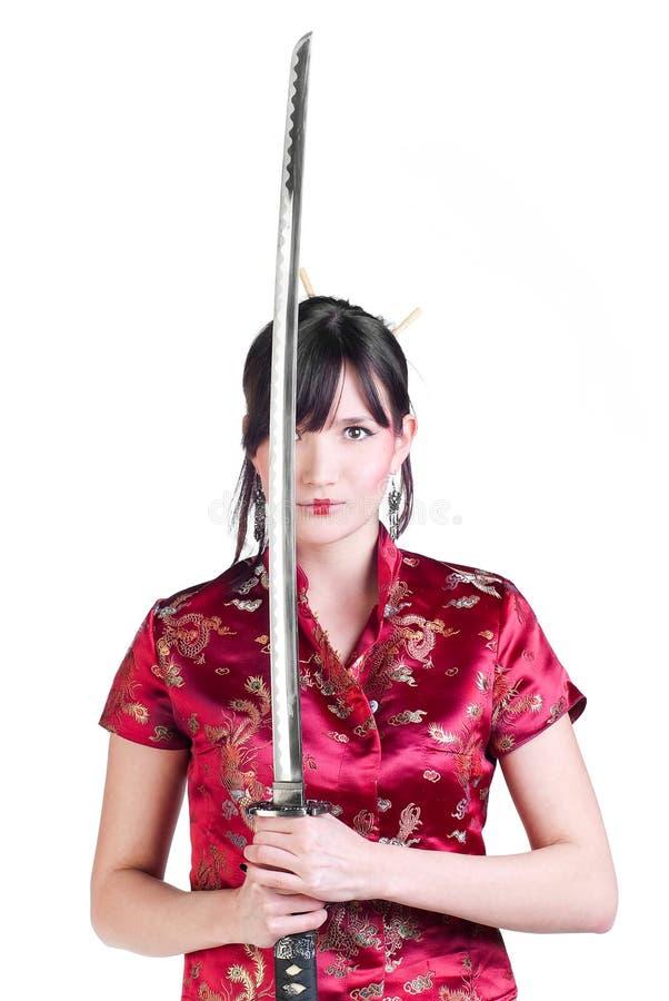 katana девушки стоковые фотографии rf