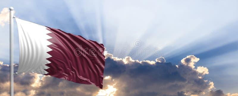 Katar-Flagge auf blauem Himmel Abbildung 3D lizenzfreie abbildung