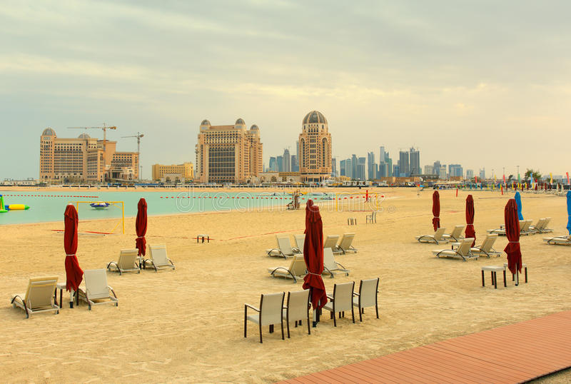 Katara beach and skyline stock images