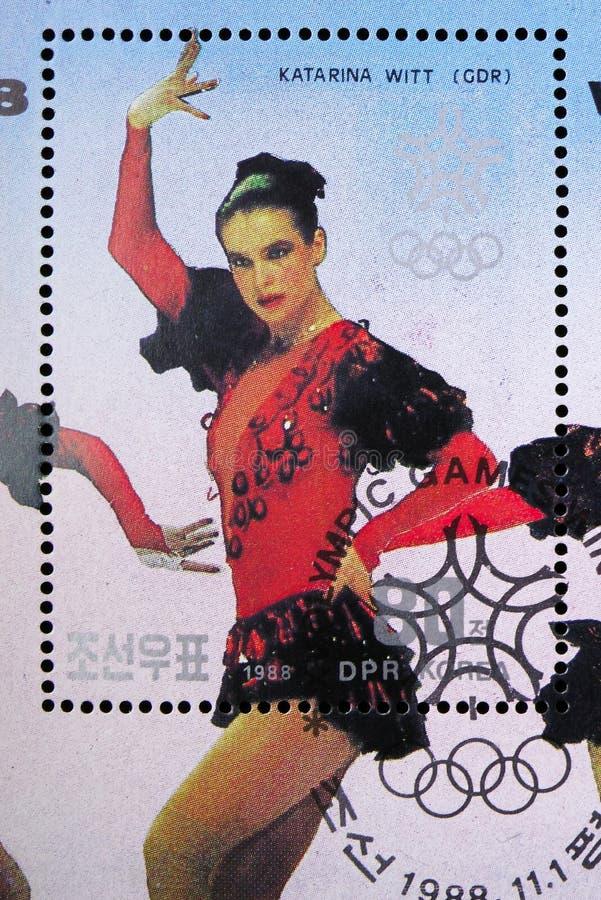 Katarina Witt serie för vinnare för vinterolympiska spelCalgary medalj, circa 1988 arkivbilder
