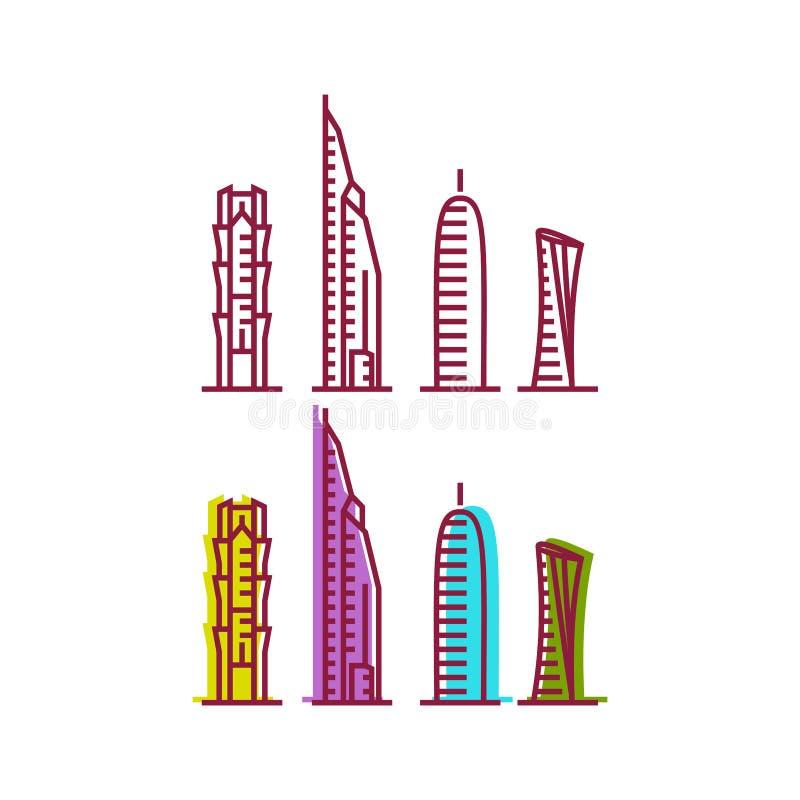 Katarska miasta wierza logo projekta inspiracja, Katar basztowy wektor ilustracja wektor