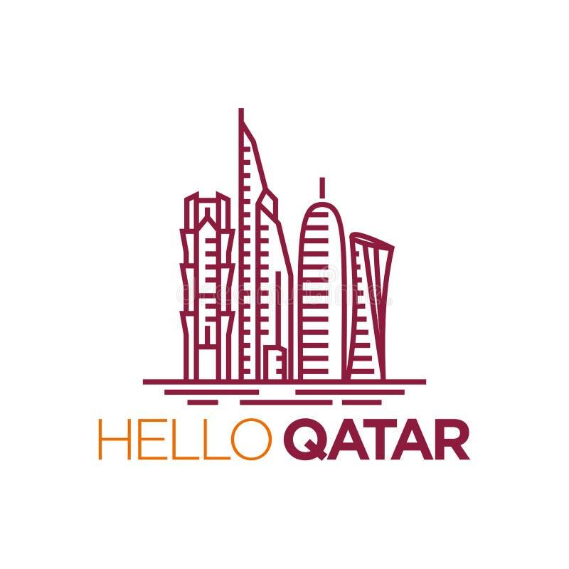 Katarska miasta wierza logo projekta inspiracja, Katar basztowy wektor ilustracji