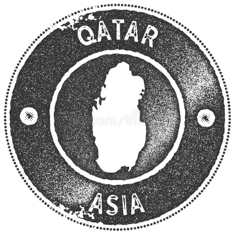 Katarski mapa rocznika znaczek royalty ilustracja